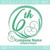 6周年記念,祝い,緑,太陽,波,豪華のロゴマークデザインです。