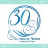 数字30,波,太陽,ゴージャスをイメージしたロゴマークデザインです。