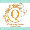 Q文字,黄色,波,月,エレガントのロゴマークデザインです。