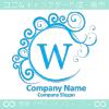 W文字,波,月,水色,エレガントのロゴマークデザインです。