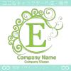 E文字,波,月,緑色,エレガントなロゴマークデザインです。