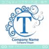 T文字,波,青,月,エレガントなロゴマークデザインです。