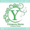 Y文字,波,月,緑色,エレガントなロゴマークデザインです。