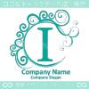 I文字,波,月,青,エレガントなロゴマークデザインです。