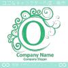 O文字,波,月,緑色,エレガントなロゴマークデザインです。