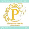 P文字,波,月,黄色,エレガントなロゴマークデザインです。