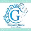G文字,青色,波,月,エレガントなロゴマークデザインです。