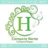 H文字,波,月,緑色,エレガントなロゴマークデザインです。