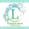 L文字,青色,波,月,エレガントなロゴマークデザインです。