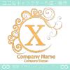 X文字,波,黄色,月,エレガントなロゴマークデザインです。