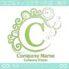 C文字,波,緑色,月,エレガントなロゴマークデザインです。