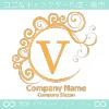 V文字,黄色,エレガント,波,月なロゴマークデザインです。