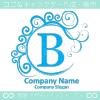 B文字,波,月,青色,エレガントなロゴマークデザインです。