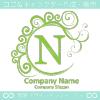 N文字,波,月,緑色,エレガントなロゴマークデザインです。
