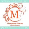 M文字,エレガント,赤色,波,月なロゴマークデザインです。