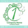 数字1,エレガント,緑色,波,ムーンなロゴマークデザインです。