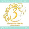 3,数字,エレガント,波,黄色,ムーンなロゴマークデザインです。
