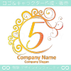 5,数字,エレガント,黄赤,波,ムーンなロゴマークデザインです。