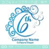 6周年記念,波,ムーン,祝い,エレガントなロゴマークデザインです。