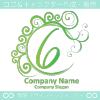 数字6,エレガント,緑色,波,ムーンのロゴマークデザインです。