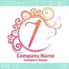 7,数字,エレガント,波,赤色,ムーンなロゴマークデザインです。