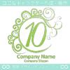 数字10,エレガント,波,緑色,ムーンのロゴマークデザインです。