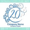 20,数字,エレガント,青色,波,ムーンなロゴマークデザインです。