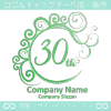 30周年記念,祝い,エレガント,波,ムーンなロゴマークデザインです。