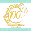 数字100,エレガント,波,黄色,ムーンなロゴマークデザインです。
