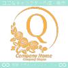 アルファベットQ,薔薇,黄色,バラ,月,花のロゴマークデザインです。