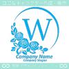 Wアルファベット,ばら,薔薇,青色,月,花のロゴマークデザインです。