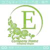 アルファベットE,薔薇,緑,バラ,月,フラワーのロゴマークデザイン