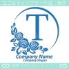 Tアルファベット,青色,ばら,薔薇,月,花のロゴマークデザインです。