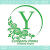 アルファベットY,薔薇,バラ,月,緑色,フラワーのロゴマークデザイン