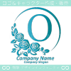 Oアルファベット,薔薇,青,バラ,月,フラワーのロゴマークデザイン