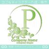 アルファベットP,薔薇,バラ,緑,月,花のロゴマークデザインです。