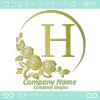 Hアルファベット,薔薇,バラ,黄,月,花のロゴマークデザインです。