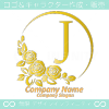 Jアルファベット,ばら,薔薇,月,黄,花のロゴマークデザインです。