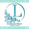 Lアルファベット,青,薔薇,バラ,月,花のロゴマークデザインです。
