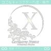 X文字,薔薇,バラ,月,シルバー,フラワーのロゴマークデザイン