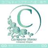 Cアルファベット,薔薇,バラ,緑,月,花のロゴマークデザインです。