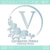 アルファベットV,ばら,薔薇,月,花のロゴマークデザインです。