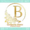 Bアルファベット,薔薇,黄バラ,月,フラワーのロゴマークデザイン