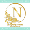 アルファベットN,薔薇,バラ,月,花のロゴマークデザインです。