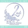 2周年記念,バラ,花,薔薇,月,美しいロゴマークデザインです。