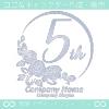 5周年記念,バラ,花,フラワー,月,綺麗なロゴマークデザイン