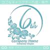 6周年記念,バラ,花,薔薇,月,美しいロゴマークデザインです。