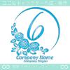 ナンバー6,バラ,花,フラワー,月,綺麗なロゴマークデザイン