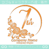7周年記念,バラ,花,フラワー,月,綺麗なロゴマークデザインです。