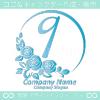 9,ナンバー,バラ,花,フラワー,月,綺麗なロゴマークデザイン